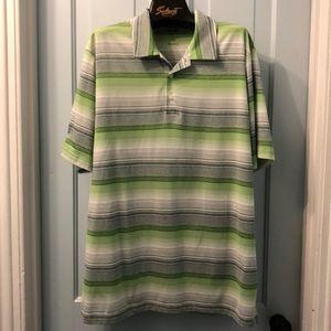 Adidas golf shirt Climalite green striped XL